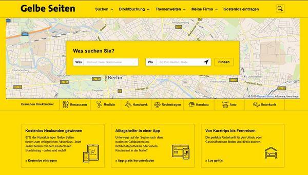 Die gelben Seiten im Internet