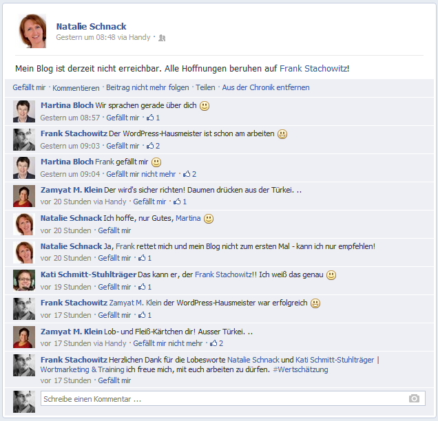 Kundenmeinungen bei Facebook