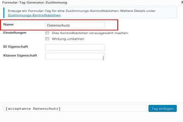 Checkboxen bestätigen im WordPress-Formular