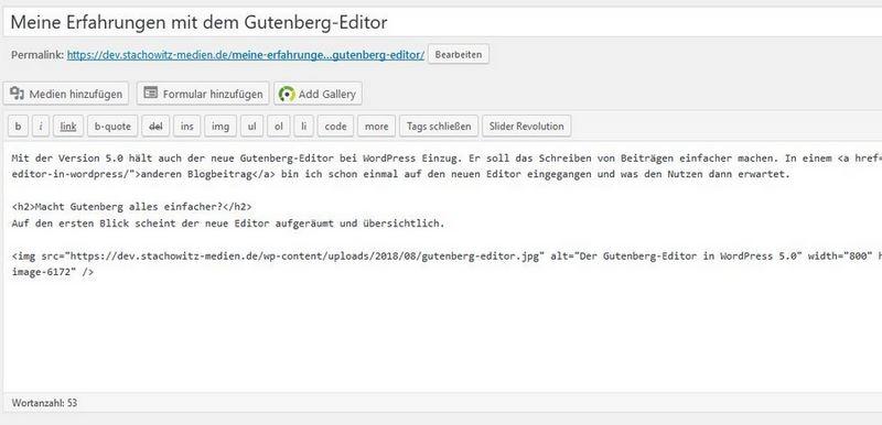 Classic-Editor in WordPress