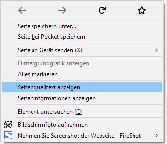 Seitenquelltext in Firefox anzeigen lassen