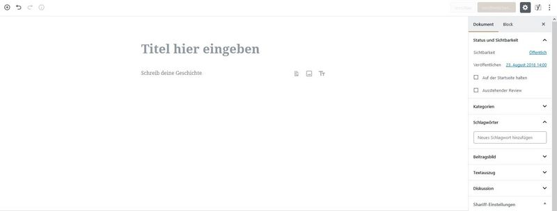 Der Gutenberg-Editor in WordPress 5.0