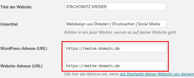 Domaineinstellungen
