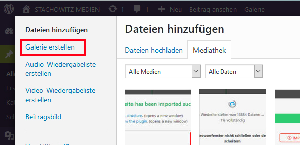 Bildergalerien anlegen in WordPress